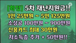 [확정]5차재난지원금,1인25만원~5인125만원,소상공…