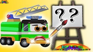 Fire Truck Green Draw Little Seal | Learn Colors with Little Seal nursery rhymes