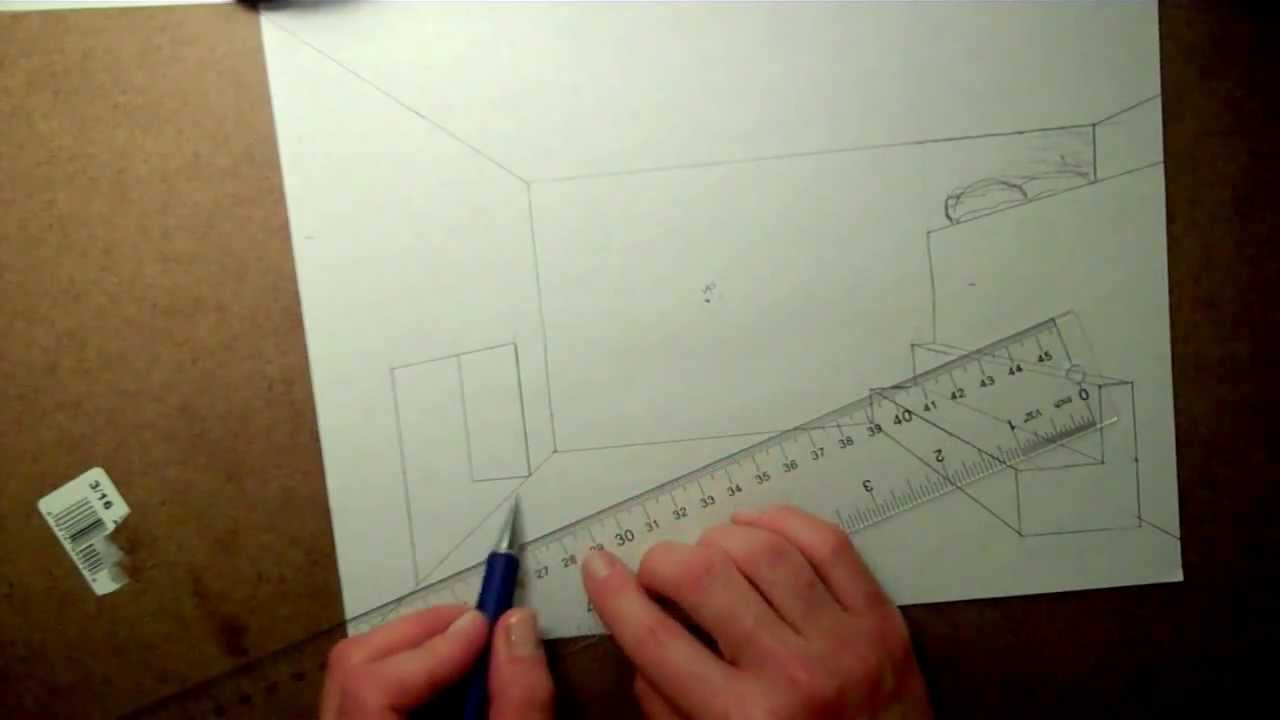 How to draw a fireplace in one-point perspective - YouTube