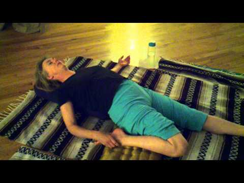 yoga everywhere 8 margaret hill demo supine hero, one leg stretch