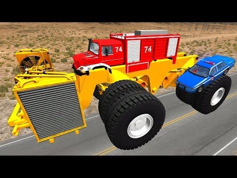 Мультики про машинки - Монстер траки и полицейские машины! Мультик игра детям - Видео онлайн