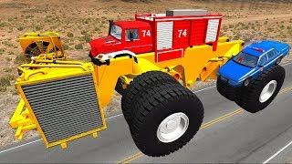 Мультики про машинки - Монстер траки и полицейские машины! Мультик игра детям