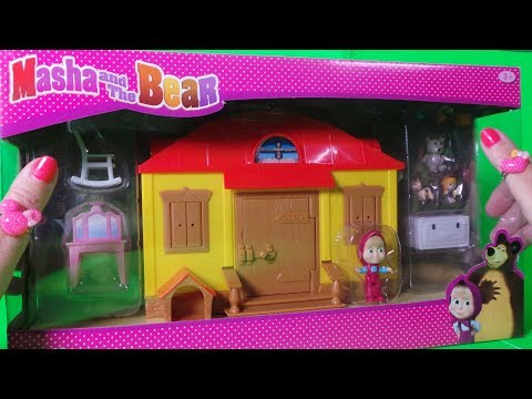 MASHA AND THE BEAR - MASHA'S HOUSE A PORTABLE PLAY SET, BED THAT FOLDS OUT & DOGHOUSE UK UNBOXING