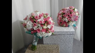 Свадебный букет из кустовой розы и эустомы.  Wedding bouquet of spray roses and eustoma.