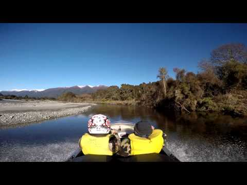 Jetboating the  Ahaura river, west coast , New Zealand