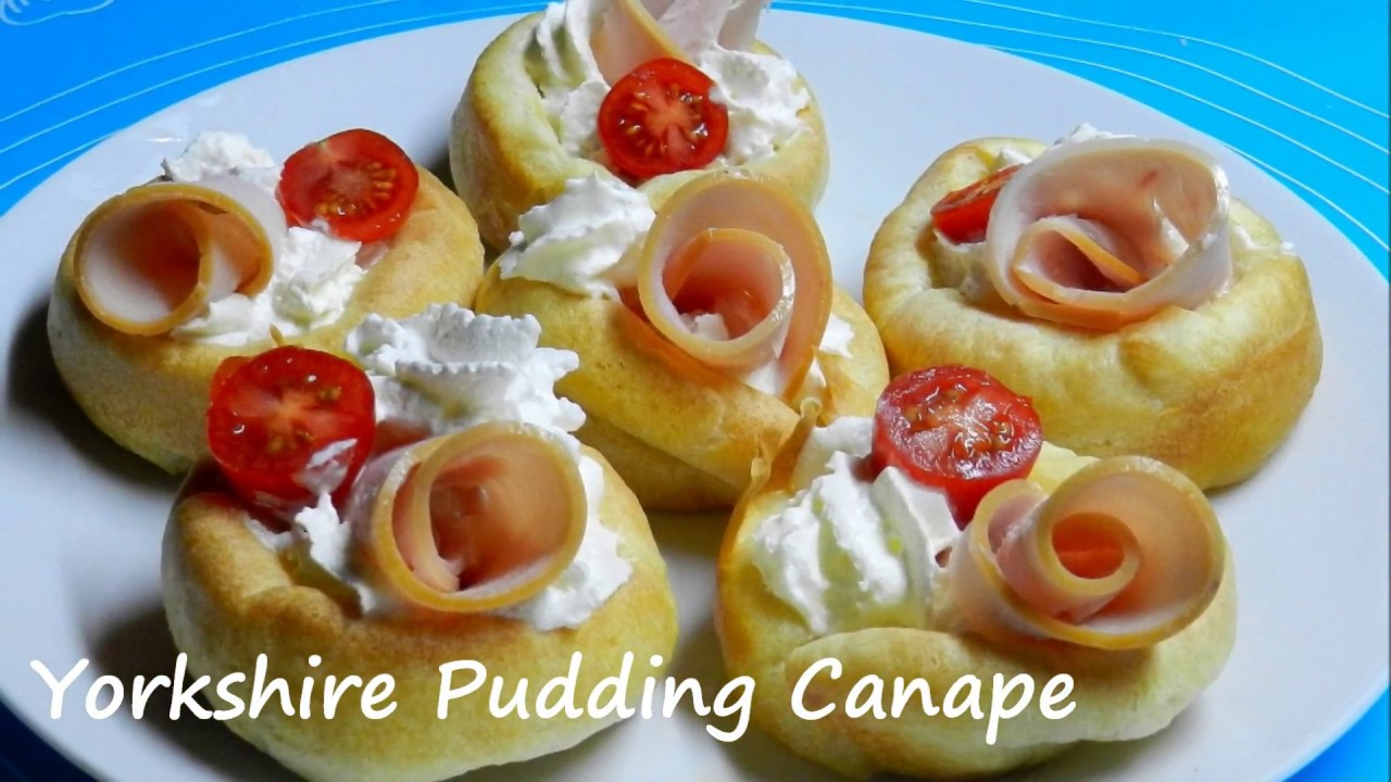 Yorkshire pudding canape easy snack recipe youtube for Yorkshire pudding canape