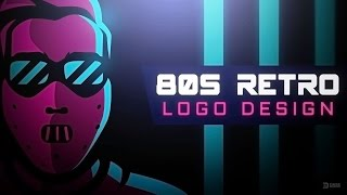 80's Retro Logo Design   Adobe Illustrator Speed Art