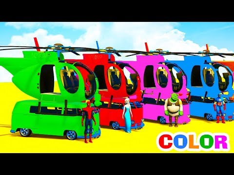 Thumbnail: Learn Colors Helicopters on Bus with Superheroes Cartoon Animation for Kids & Nursery Rhymes Songs
