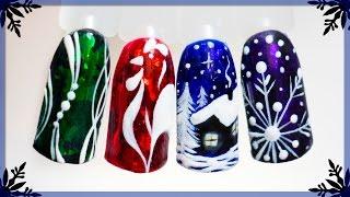Новогодний маникюр 2017: Петух, Домик, Снежинка. Зимний дизайн ногтей