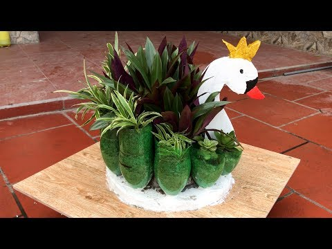 DIY - ❤️❤️❤️ Idea Making Recycled Plastic Bottles Into a Swan Pots Planter At Home - Craft ideas