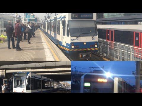 Rit in de Amsterdamse Metro en Tram: Tram 13 Geuzenveld - De Vlugtlaan, Metro 50, 51 Centraal Statio