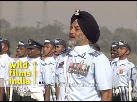Indian Air Force band and flyers sing on occasion of Air Force day