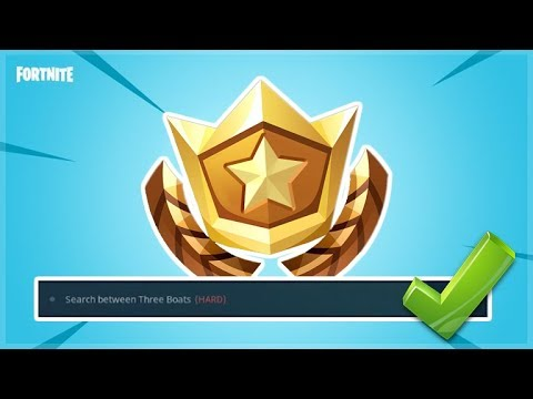 Search Between Three Boats Fortnite: Battle Royale Week 8 (HARD) Challenge Location