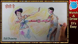 How to Draw Happy Holi Scene Easy for Kids Step by Step