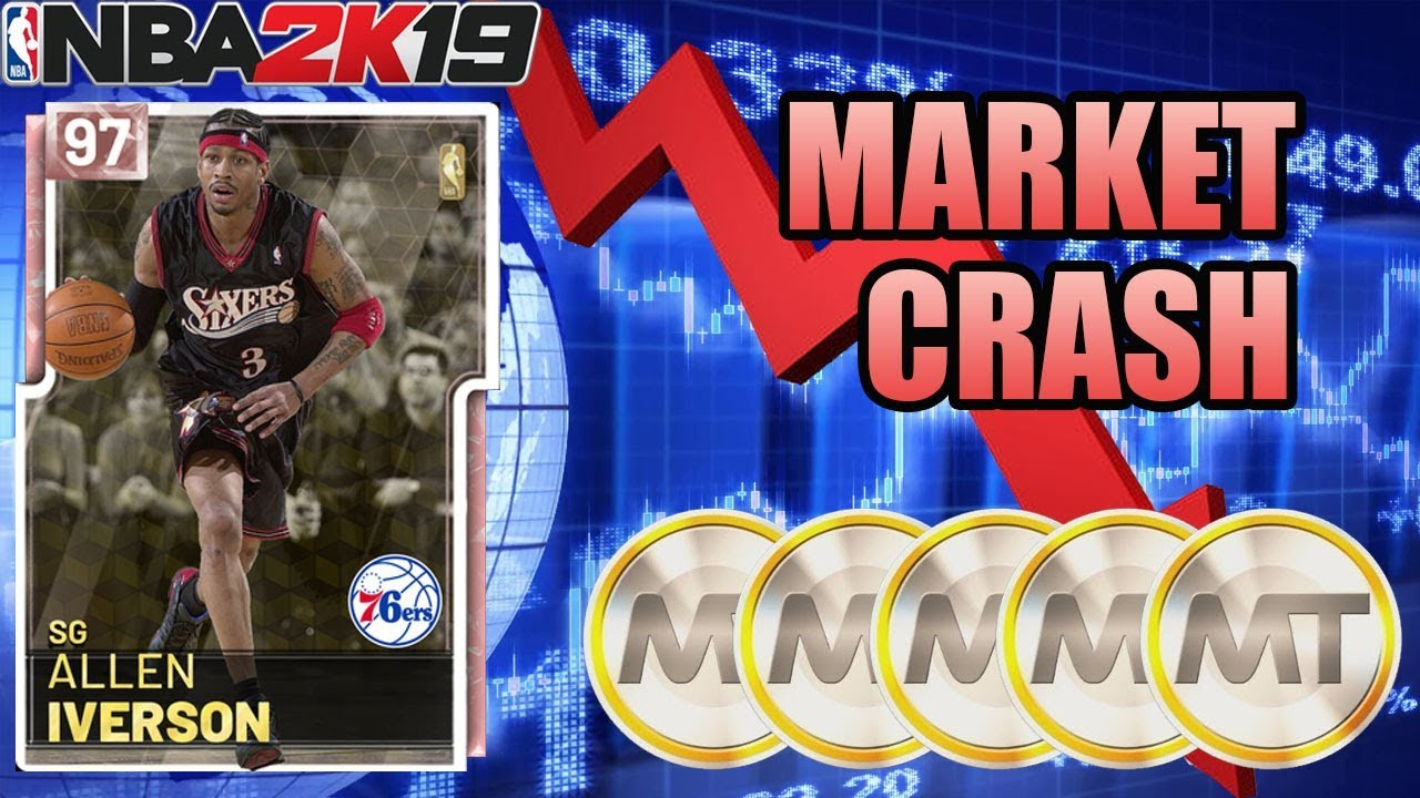 HUGE MARKET CRASH WITH PINK DIAMOND ALLEN IVERSON IN NBA 2K19 MYTEAM