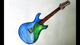 How to draw guitar step by step with watercolour pencil (2017)