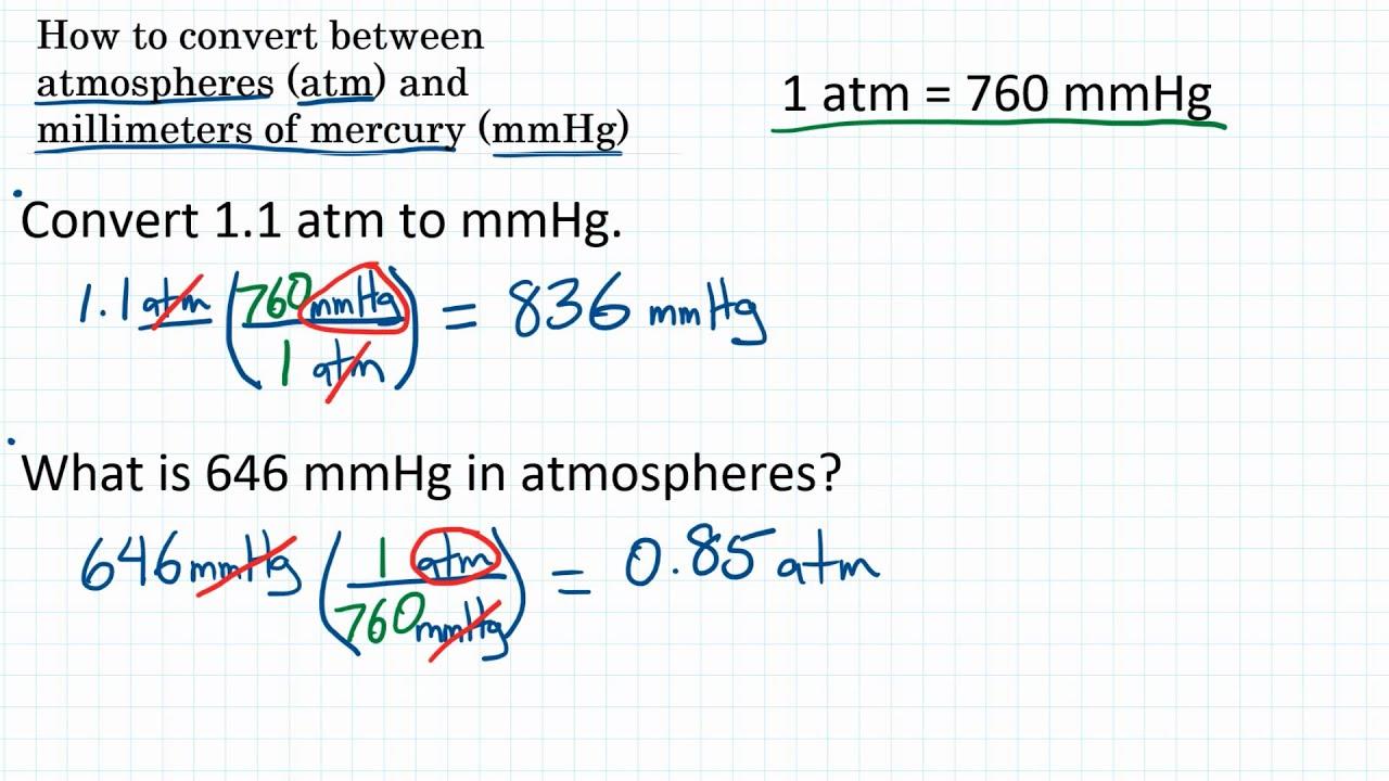 How To Convert Pressure Units Atm Mmhg Youtube
