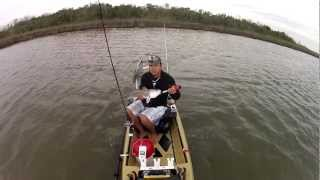 Motorized Kayak Fishing Galveston, Texas Redfish
