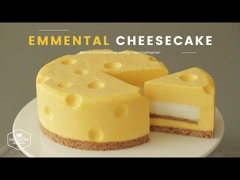 톰과 제리 치즈케이크! 노오븐 에멘탈 치즈케이크 만들기 : Tom&Jerry No-Bake Emmental Cheesecake : エメンタールチーズケーキ   Cooking Tree