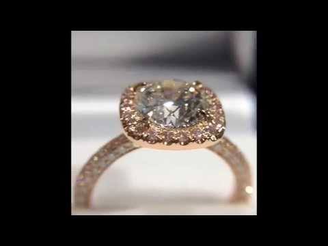 2 Carat Round Diamond Ring in Pink Diamond Rose Gold Halo