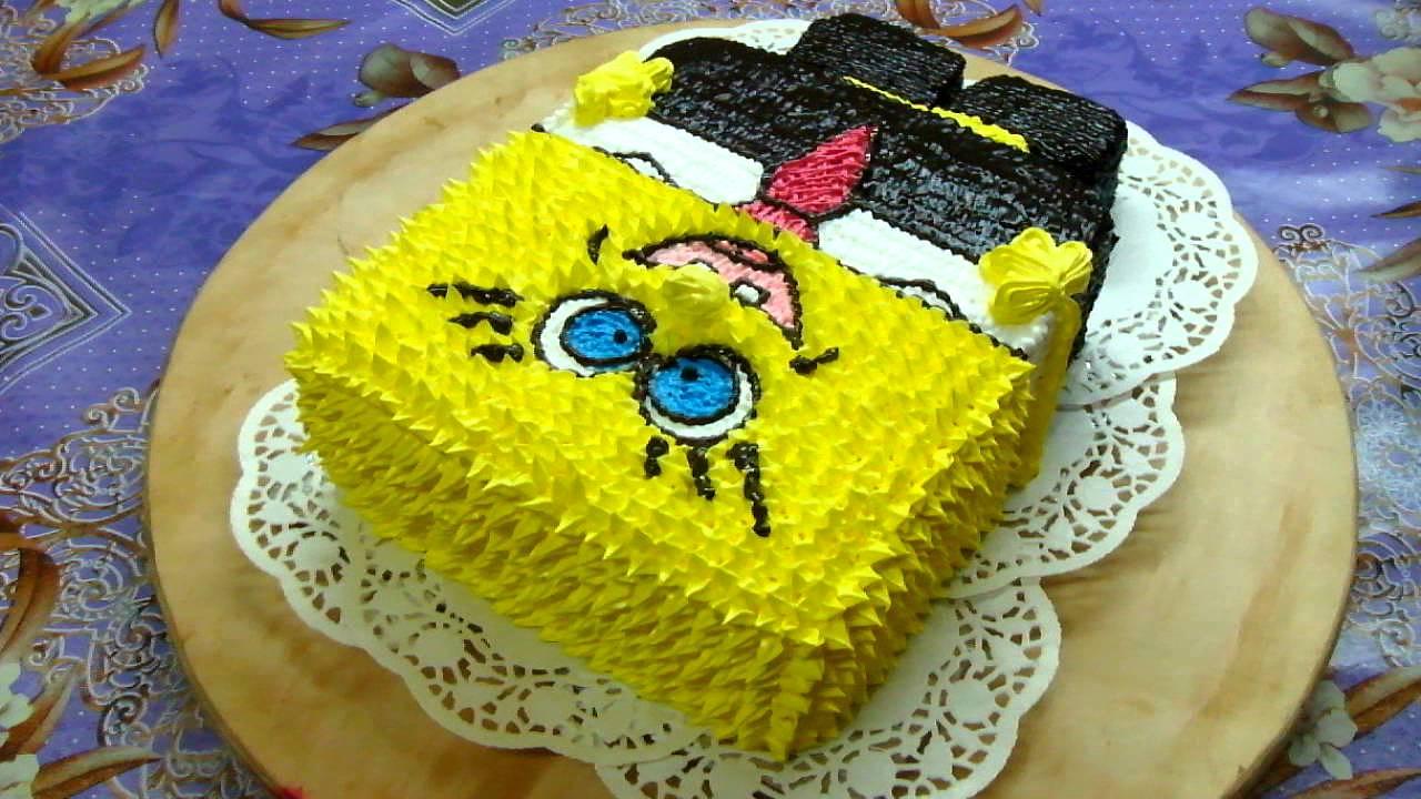 кремовый торт спанч боб рецепт с фото