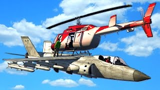 LANDING A HELICOPTER ON A PLANE!? (GTA 5 Challenges)