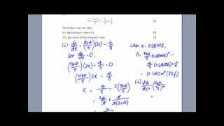 GCE O-Level A-Maths: Differentiation - Finding Stationary Value