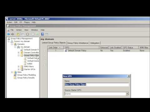 Windows Server 2008: create group policy for Active Directory