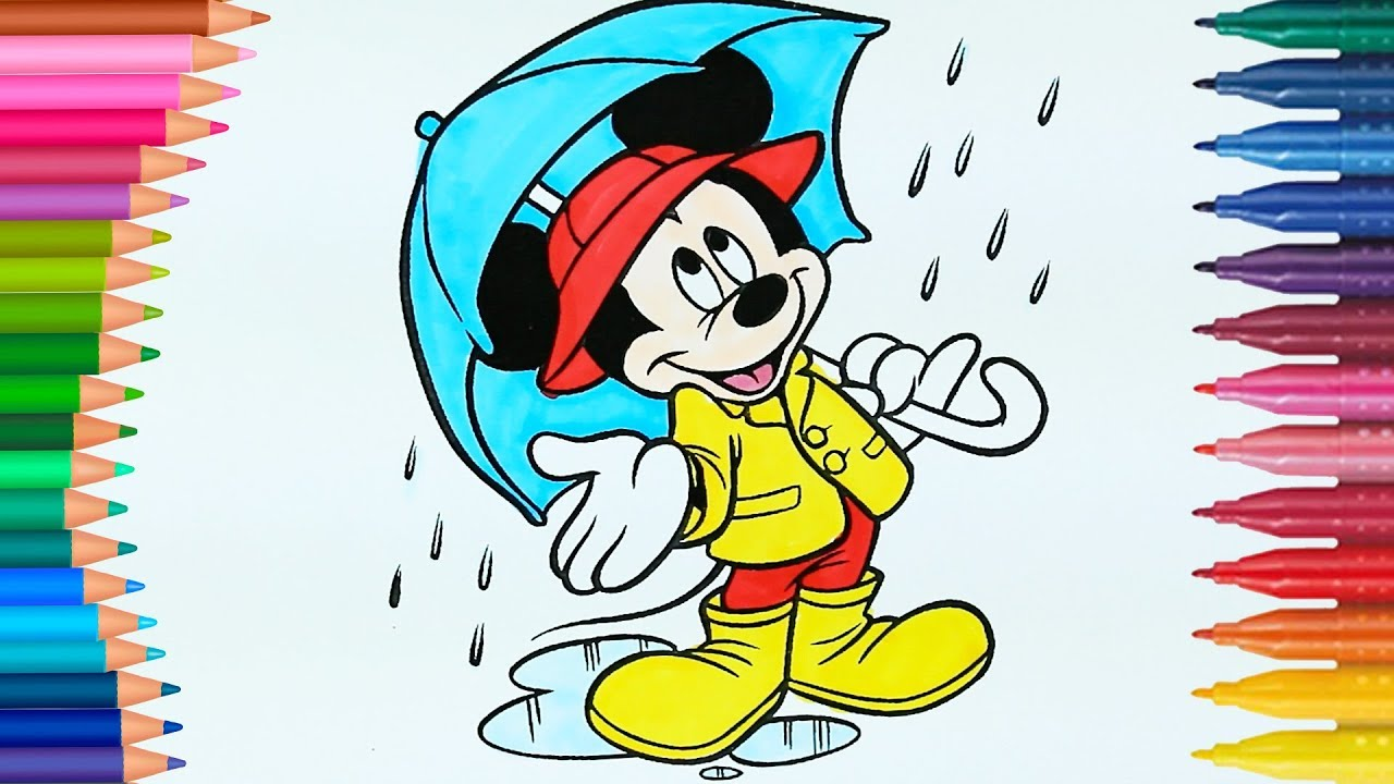 Mickey Mouse Boyama Boyamalar Boyama Kitabı Rainbow Boyama