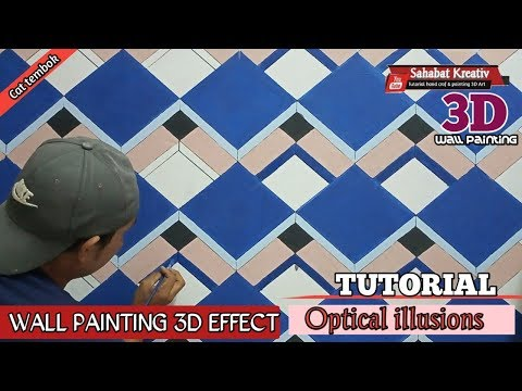 Cat tembok efek 3D || wall painting 3D effect || Optical illusions || tutorial 030 3D Art