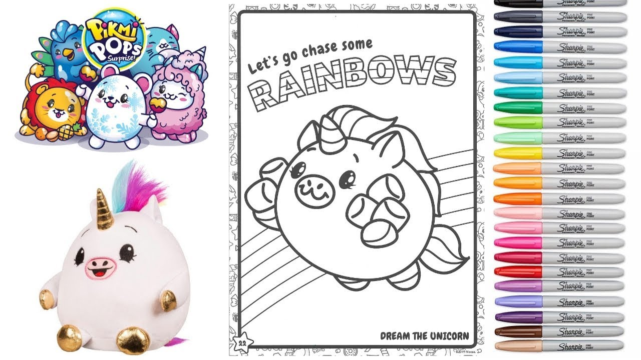 Coloring Pikmi Pops Colourful Dream The Unicorn Coloring Page For Kids
