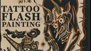 Painting tattoo flash - Devils by Emils Salmins