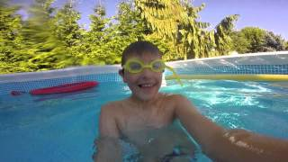 going in the pool with the gopro