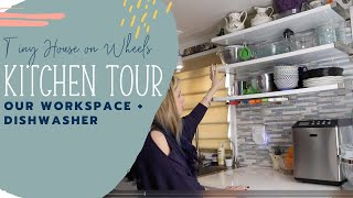 Tiny House on Wheels Kitchen Tour: Our Workspace Counter + Dishwasher