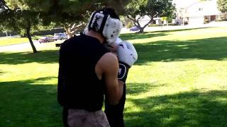 Boxing vs Taekwondo Sparring (hands only) at Open Martial Arts Meetup