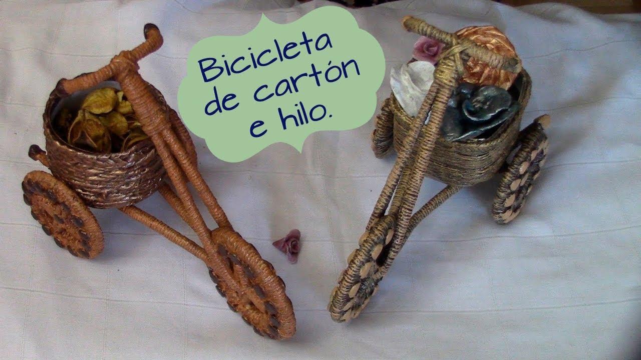 Bicicleta de carton e hilo biciycle made with cardboard - Manualidades con hilo ...