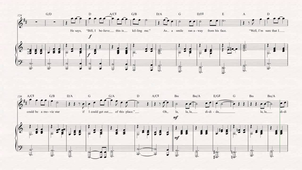 tenor sax - piano man - billy joel - sheet music, chords, & vocals - youtube  youtube