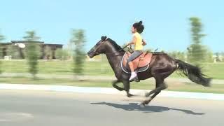 9 летняя девочка из Азербайджана красиво катается на лошади !!!