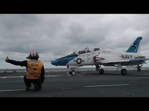 T-45 Goshawk Conducts Launch and Recovery Aboard USS Gerald R. Ford (CVN 78)
