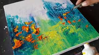 Abstract Painting / Landscape /Amazing Easy technique in Acrylics / Demo /Project 365 days/Day#025