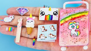 30 DIY BARBIE HACKS ~ MINIATURE ITEMS for Back To Schools, Unicorn !