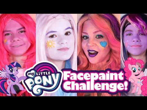 MY LITTLE PONY FACE PAINT CHALLENGE! MAKEUP TRANSFORMATION! Pinkie Pie Twilight Sparkle Princess