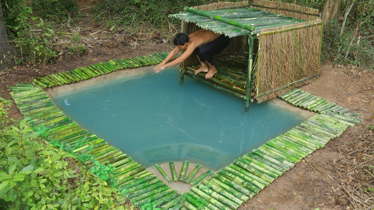 Building bamboo hut cover underground swimming pool youtube - How to build a swimming pool out of wood ...