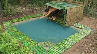 Building Bamboo Hut Cover Underground Swimming Pool