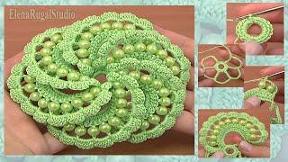 Crochet Beaded Flower Tutorial 103 Волшебный цветок с бусинками