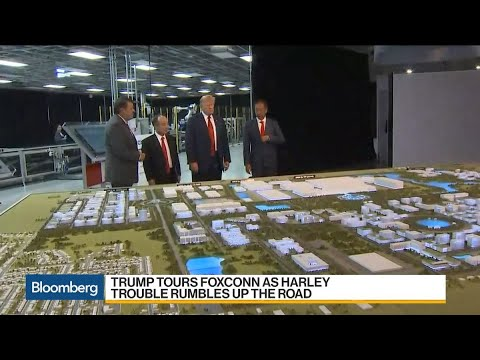 Trump Tours Foxconn as Harley Trouble Rumbles up the Road