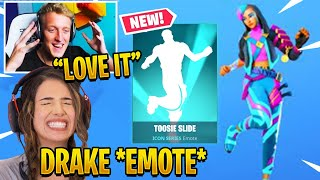 "Streamers React to *NEW* ICON SERIES ""TOOSIE SLIDE"" EMOTE! Fortnite Drake Emote"