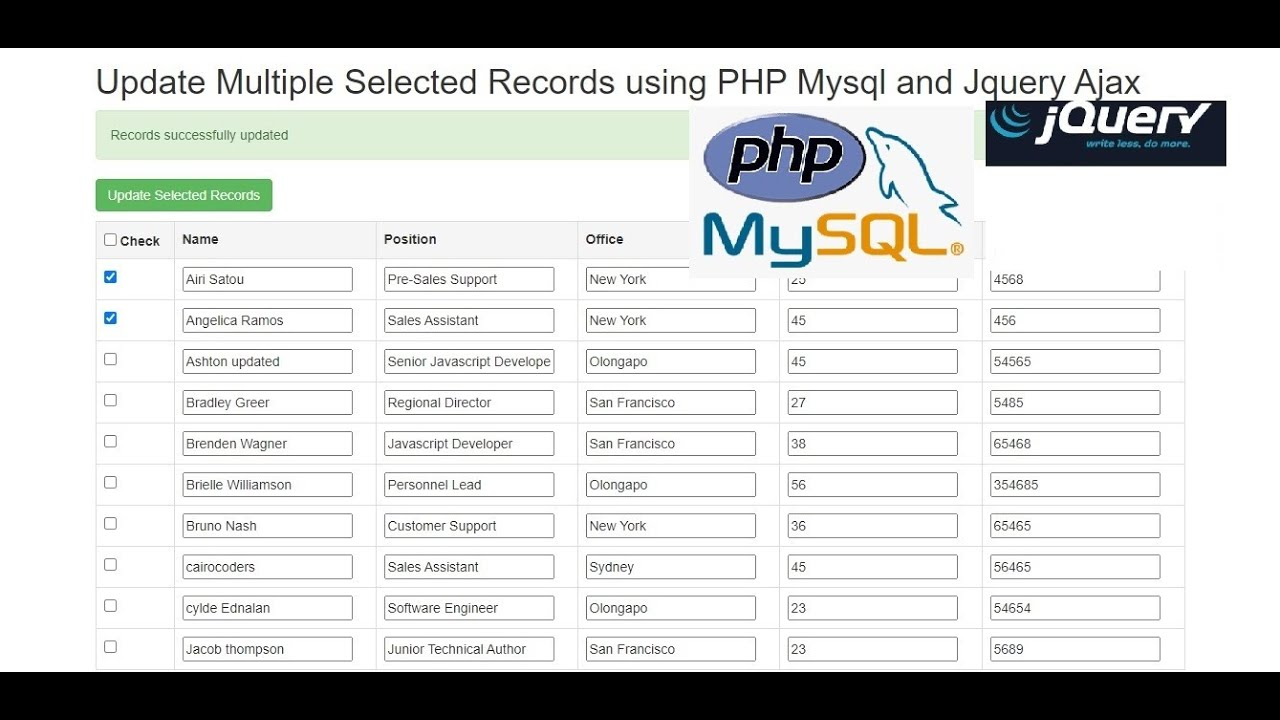Update Multiple Selected Records using PHP Mysql