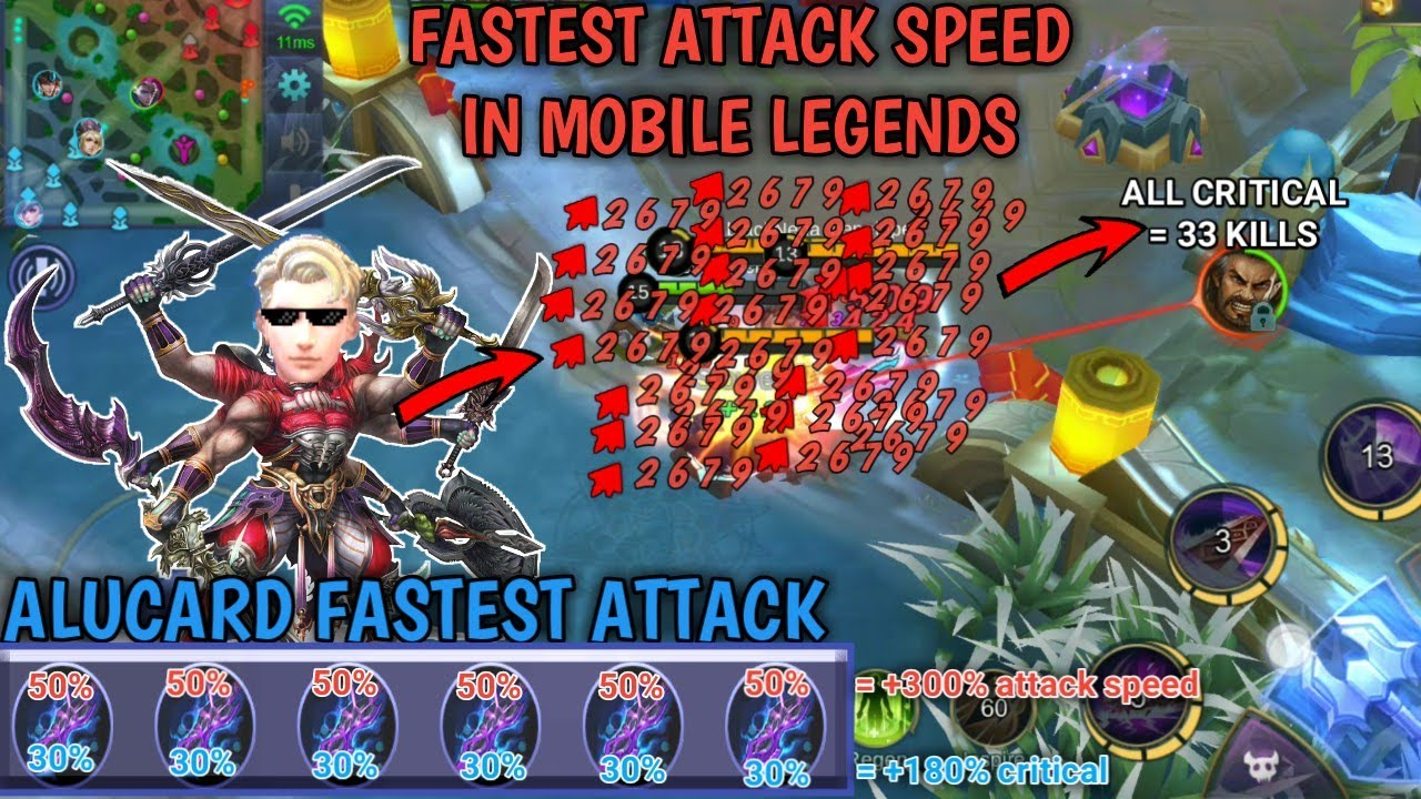 FASTEST ATTACK IN MOBILE LEGENDS | ALL CRITICAL | ALUCARD HIGHEST KILLS