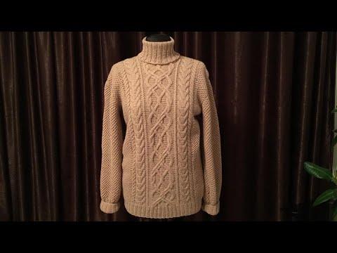 Мужской свитер вывязан узором ,,соты,, размер 46-48// Мастер класс// подробное описание